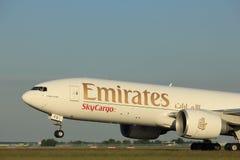 Amsterdam, Pays-Bas - 1er juin 2017 : Émirats Boeing 777F d'A6-EFD Photographie stock