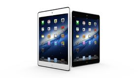 AMSTERDAM, PAYS-BAS, VERS 2014 - comprimés d'iPad d'Apple mini sur l'affichage Photographie stock libre de droits