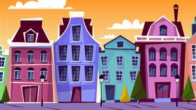 Amsterdam pejzażu miejskiego kreskówki wektorowa ilustracja Fotografia Royalty Free