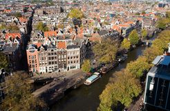 Amsterdam perspective. Aerial perspective of Amsterdam, Netherlands Stock Photo