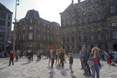 Amsterdam Pillow fight 2014 Royalty Free Stock Photography