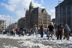Amsterdam Pillow fight 2014 Stock Image
