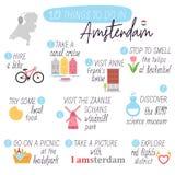 amsterdam Podróż przewdonik Robić list rzeczom robić w Amsterdam Podróż Amsterdam wektor ilustracji