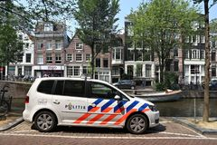 Amsterdam Police. AMSTERDAM, NETHERLANDS - JULY 7, 2017: Police car in Amsterdam, Netherlands. Police Politie employs more than 63,000 people in the Netherlands Stock Photography