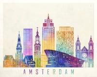 Amsterdam punktów zwrotnych akwareli plakat Ilustracja Wektor