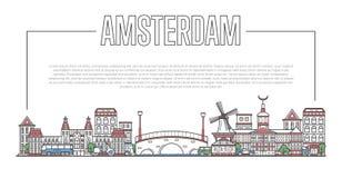 Amsterdam punktu zwrotnego panorama w liniowym stylu Obrazy Royalty Free