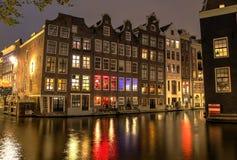 Amsterdam rött ljusområde arkivfoto