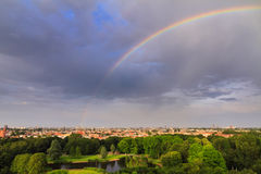Amsterdam rainbow cityscape Stock Images