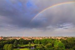 Amsterdam rainbow cityscape Stock Images