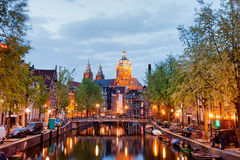Amsterdam Old Town in the Evening Stock Photography