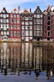 Amsterdam reflections. Canal houses of Amsterdam, The Netherlands with reflections Royalty Free Stock Image