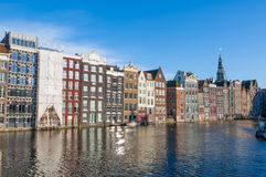 Amsterdam residence buildings on the water, the Netherlands. Royalty Free Stock Photos