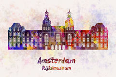 Amsterdam Rijksmuseum Landmark in watercolor Royalty Free Stock Photo
