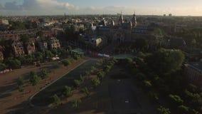 Amsterdam Rijksmuseum och Art Square, antenn arkivfilmer