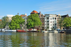 Amsterdam. River Amstel embankment Royalty Free Stock Photos