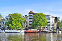 Amsterdam. River Amstel embankment Stock Image