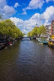 Amsterdam river on a bright sunny day stock photo
