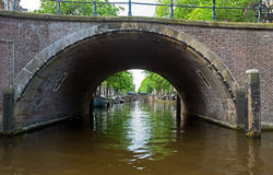Amsterdam - Romantic bridge over canal in old town Stock Photos