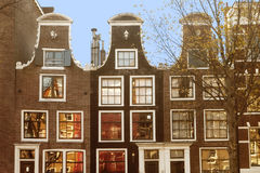 Amsterdam row of houses in the fall Royalty Free Stock Image