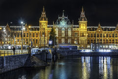 Amsterdam's canal at night royalty free stock photography
