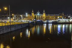 Amsterdam's canal at night stock photos