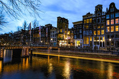 Amsterdam's canal at night royalty free stock photo
