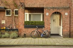 Amsterdam school entrance. Amsterdam, Netherlands - 25 October, 2015: Red brick residential entrance on the J.J. Viottastraat Royalty Free Stock Photo