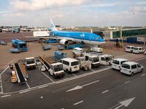 Schiphol airport at work. Amsterdam city. September 10, 2012 Royalty Free Stock Image