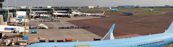 Schiphol airport at work. Amsterdam city. September 10, 2012 Royalty Free Stock Images
