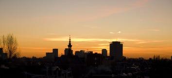 Amsterdam Skyline. Evening view on the Amsterdam Skykine Stock Photo