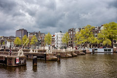 Amsterdam Skyline from the Amstel River Royalty Free Stock Photo