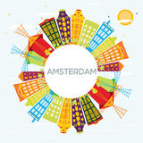 Amsterdam Skyline with Color Buildings, Blue Sky and Copy Space. Stock Images