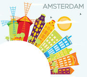 Amsterdam Skyline with Color Buildings, Blue Sky and Copy Space. Vector Illustration. Business Travel and Tourism Concept with Historic Architecture. Image for Vector Illustration