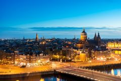 Amsterdam skyline in historical area at night, Netherlands. Ariel view of Amsterdam, Netherlands. Amsterdam skyline in historical area at night, Netherlands stock photo
