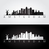 Amsterdam skyline and landmarks silhouette. Stock Photography