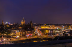 Amsterdam skyline at night. With the fun fair visible in Dam Square Royalty Free Stock Images