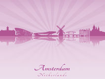 Amsterdam skyline in radiant orchid Stock Images