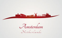 Amsterdam skyline in red Stock Image