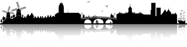 Amsterdam skyline silhouette black isolated vector