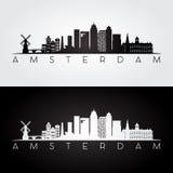 Amsterdam-Skyline und Marksteinschattenbild vektor abbildung