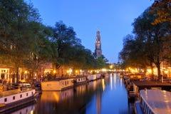 Amsterdam skymning Arkivfoton