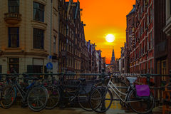 Amsterdam solnedgång Royaltyfri Fotografi