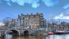Amsterdam-Sonnenuntergangkanal 4K timelapse stock video footage