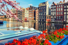 Amsterdam at spring. Traditional old buildings in Amsterdam at spring, the Netherlands Royalty Free Stock Photography