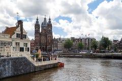 Amsterdam St Nicholas Church Arkivbilder