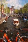 Amsterdam stad i Holland, konstverk i målningstil Arkivbild