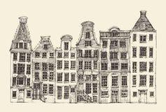 Amsterdam, stadsarchitectuur, wijnoogst gegraveerde illustratie Royalty-vrije Stock Fotografie