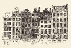 Amsterdam, stadsarchitectuur, wijnoogst gegraveerde illustratie Stock Fotografie