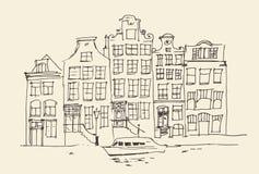 Amsterdam, stadsarchitectuur, wijnoogst gegraveerde illustratie Royalty-vrije Stock Afbeelding