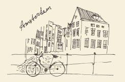 Amsterdam, stadsarchitectuur, wijnoogst gegraveerde illustratie Royalty-vrije Stock Foto's